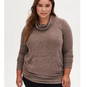 TORRID super soft plush walnut cowlneck sweatshirt